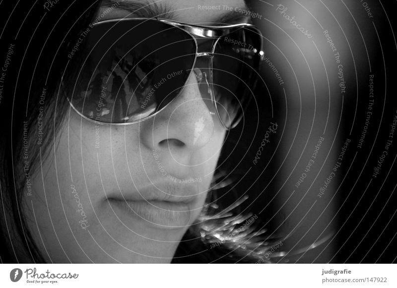 in the dark Woman Face Portrait photograph Eyeglasses Sunglasses Reflection Lips Mouth Black & white photo Calm Serene Wait Beautiful Youth (Young adults)