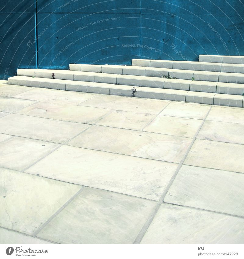 blue wall & stairs Stairs Wall (building) Blue Go up Ascending Tall Upward Going Line Geometry Town Places Empty Cold Sparse Architecture