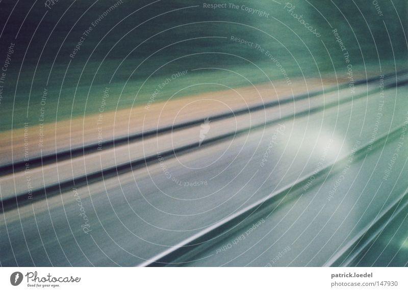 Vacation & Travel Window Movement Wait Railroad Speed Driving Railroad tracks Blur Come Depart