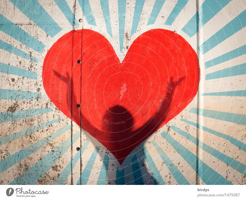 when the heart begins to sing Happy Valentine's Day Mother's Day Feminine 1 Human being Youth culture Graffiti Sign Heart Shadow Laughter Illuminate Dance