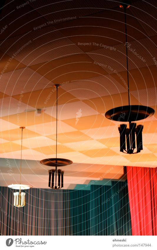 assembly hall Lamp Ceiling Checkered Drape Stage Auditorium Production Square Blue Red Yellow Light Dark Bright Old Audience Nerviness Candlestick Hanging lamp