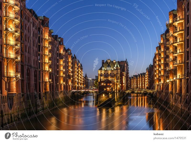 water castle Hamburg Speicherstadt storehouse city Germany Europe Town Port City Downtown Old town Deserted House (Residential Structure) Bridge Tower Gate