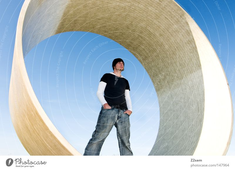 Human being Man Sky Blue Style Think Concrete Modern Cool (slang) Jeans Round Stand Construction site Cap Material