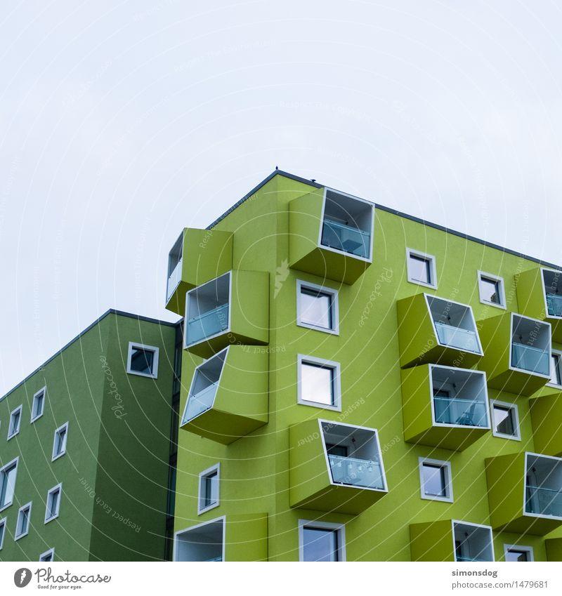 cube House (Residential Structure) Building Architecture Facade Movement Uniqueness Design Copenhagen Green Cube Minimalistic Balcony Stick out