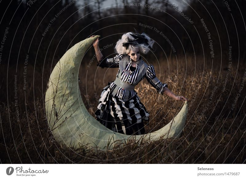 Human being Woman Nature Adults Environment Meadow Feminine Freedom Dream Field Stripe To hold on Moon Striped Fairy tale Wig