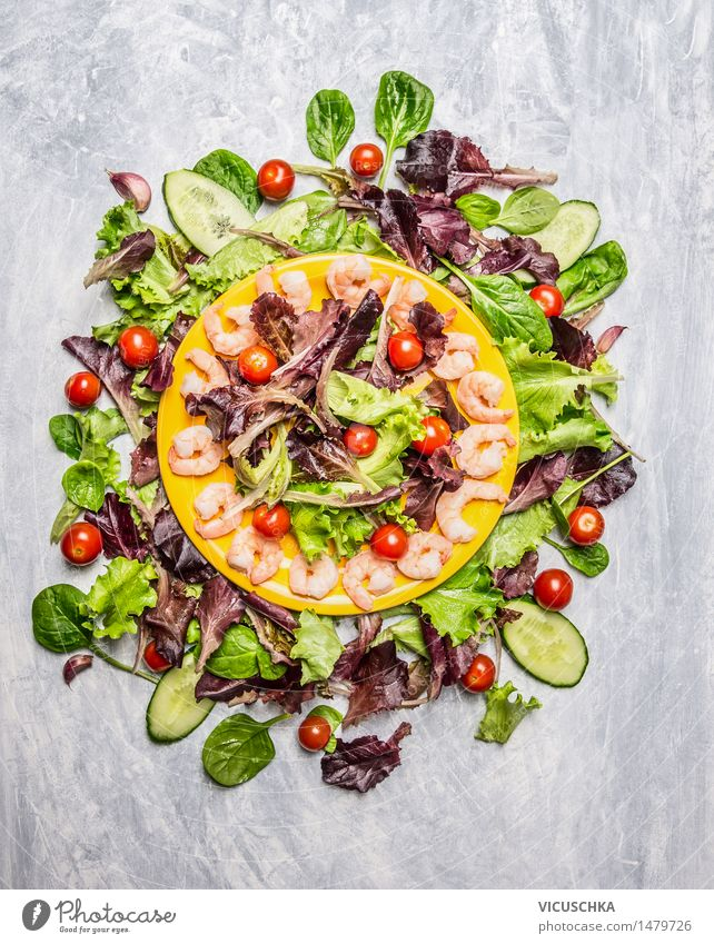 Fresh salad with prawns Food Seafood Vegetable Lettuce Salad Herbs and spices Nutrition Lunch Dinner Banquet Organic produce Vegetarian diet Diet Plate Style