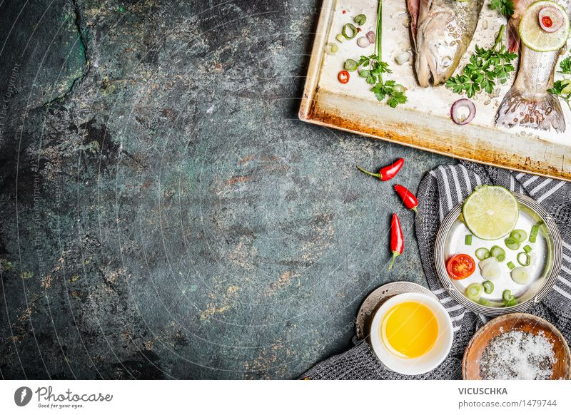 Fish cooking background with ingredients Food Vegetable Herbs and spices Cooking oil Nutrition Lunch Banquet Organic produce Vegetarian diet Diet Plate Bowl