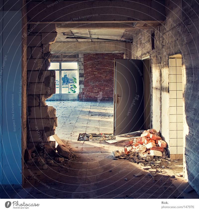 Old White Blue Black Loneliness Yellow Window Stone Wall (barrier) Building Warmth Line Moody Lighting Orange Dirty