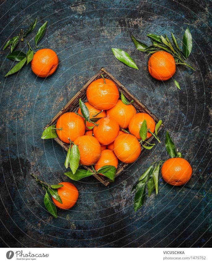 Fresh mandarins with leaves on dark background Food Fruit Orange Nutrition Style Design Healthy Healthy Eating Life Summer Winter Table Nature Yellow Vintage