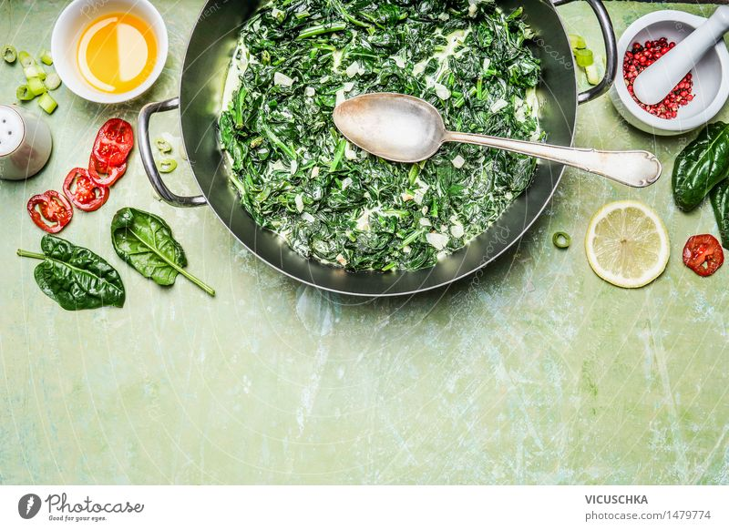 Spinach with cream sauce with ingredients and spoon Food Vegetable Herbs and spices Cooking oil Nutrition Lunch Dinner Organic produce Vegetarian diet Diet Bowl