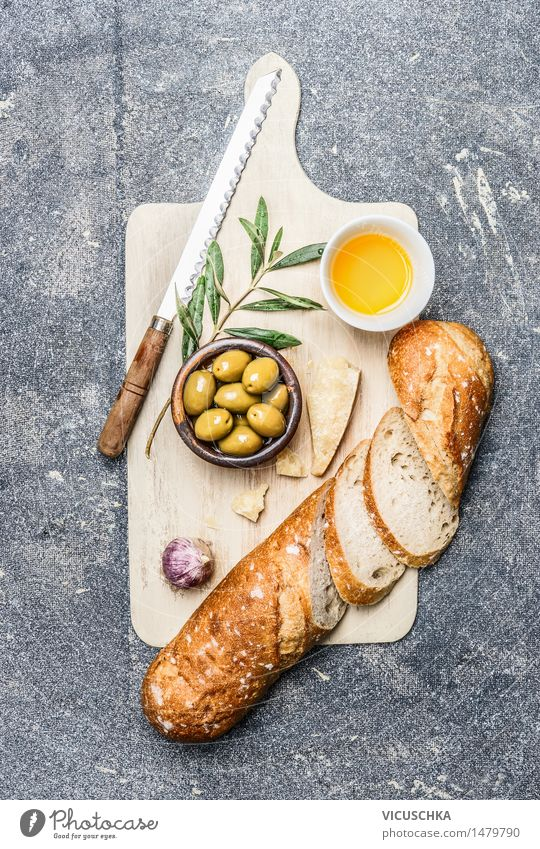 Ciabatta with olives, oil, garlic and cheese Food Vegetable Bread Herbs and spices Nutrition Lunch Buffet Brunch Organic produce Vegetarian diet Diet