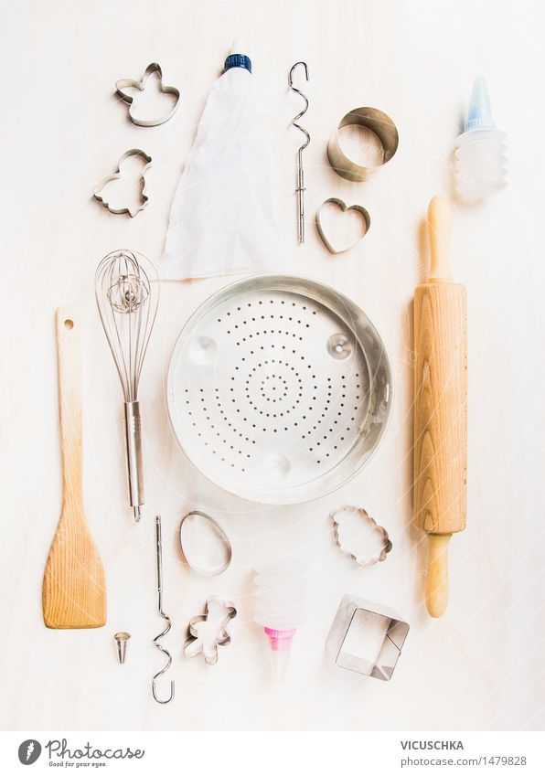 Selection of kitchen utensils for Easter baking Dough Baked goods Nutrition Crockery Style Design Table Kitchen Feasts & Celebrations Equipment