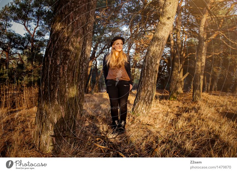 ..... stands in the forest ..... Lifestyle Elegant Style Young woman Youth (Young adults) 18 - 30 years Adults Nature Landscape Beautiful weather Tree Forest