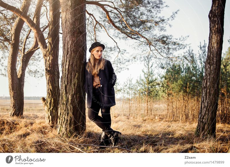 Nature Youth (Young adults) Young woman Tree Sun Landscape Calm Winter 18 - 30 years Forest Adults Feminine Style Lifestyle Fashion Dream