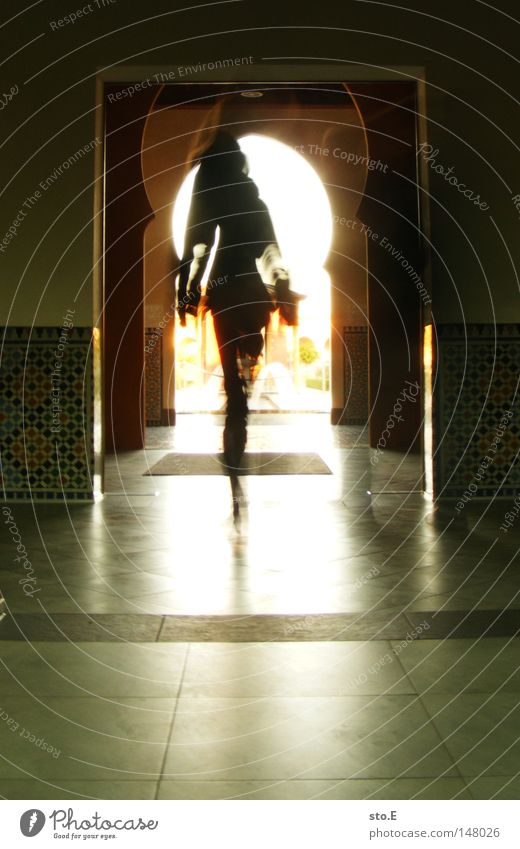 Way to the source Going To go for a walk Passage Tunnel Manmade structures Near and Middle East The Orient Lady Woman Human being Round Reflection Pattern