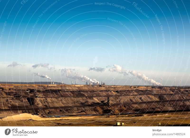 Garzweiler open pit lignite mine Work and employment Industry Energy industry Mining Soft coal mining Soft coal dredger Wind energy plant Coal power station Sky