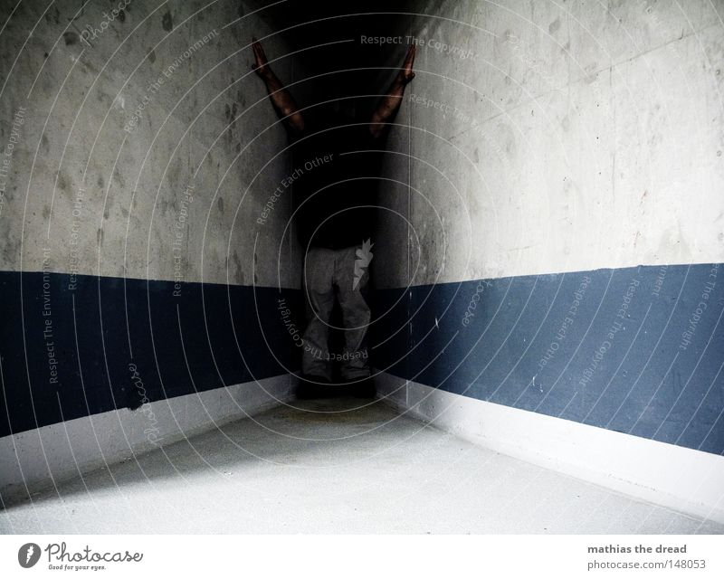 DARK CORNER Room Interior shot Concrete Concrete wall Concrete construction Vanishing point Building line Central perspective Human being Stripe Wedged Between