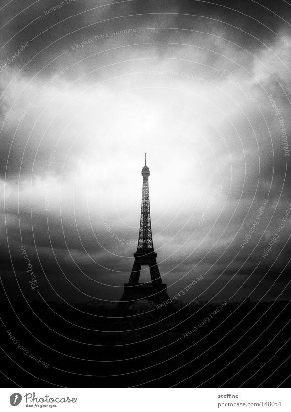 Sky White Black Clouds Dark Threat Tower Point Paris Monument France Symbols and metaphors Landmark Tourist Rocket Tourist Attraction