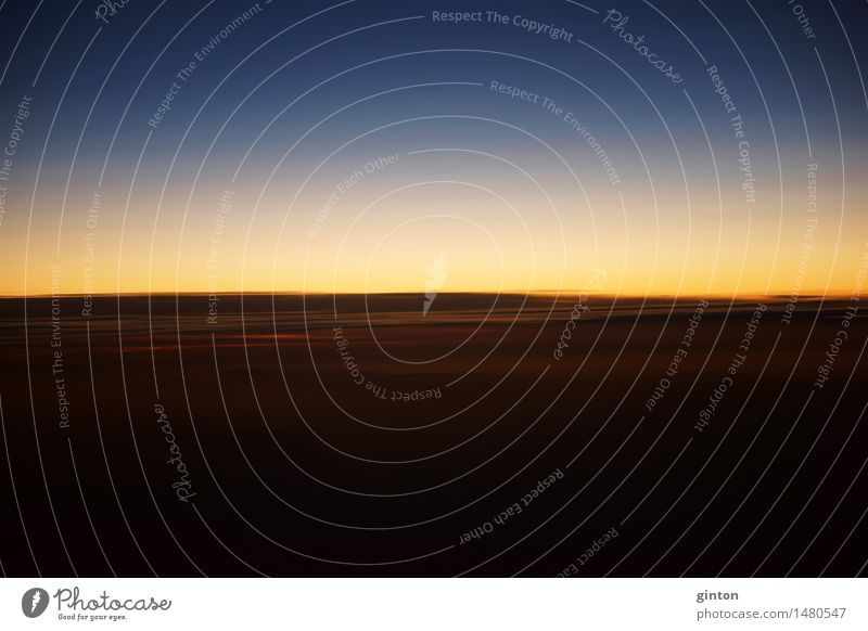 Sunset at flight level Beautiful Nature Clouds Horizon Weather Stripe Dark Bizarre time of day Altimeter Height Flying Time zones Sky wiping effect