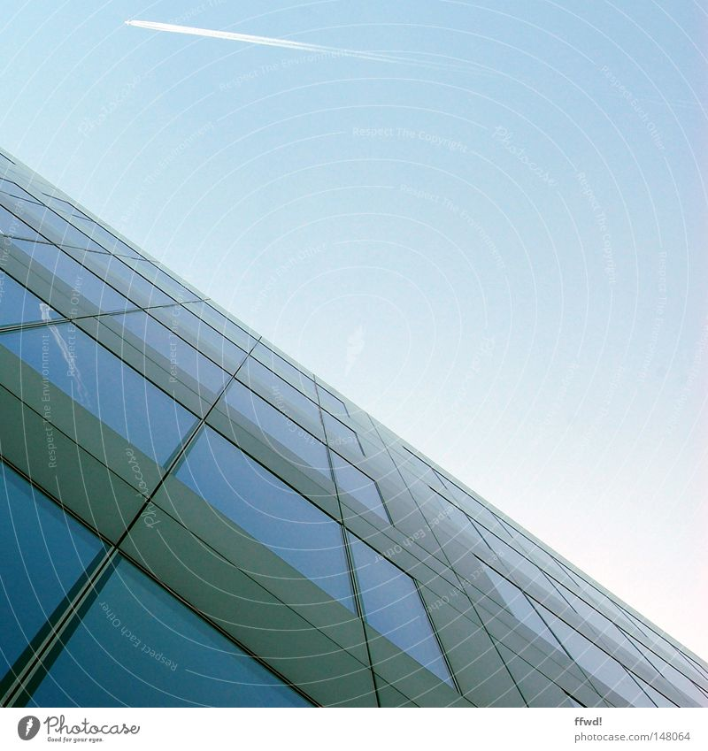 Sky Blue Window Above Architecture Glass Facade Tall Airplane Modern High-rise Perspective Future Financial institution Bank building
