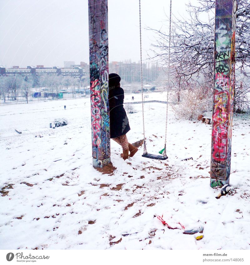 waiting in the snow Wait Ajar Woman Coat Date Lateness Berlin Swing Snow New Year's Party January December Inscription Graffiti Multicoloured Cold Embellish