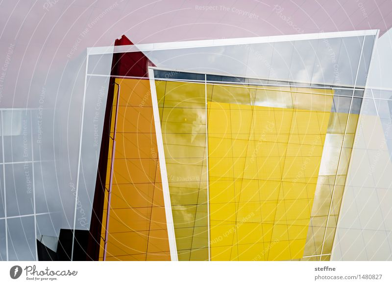A question of perspective Facade Sharp-edged Double exposure Yellow Orange Line Colour photo Multicoloured Exterior shot Experimental Abstract Pattern