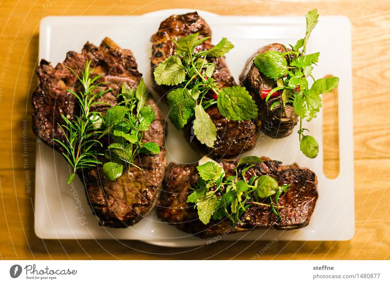 Eating Food Nutrition To enjoy Herbs and spices Barbecue (event) Meat Dinner Steak Rosemary Roastbeef Filet mignon Steakhouse