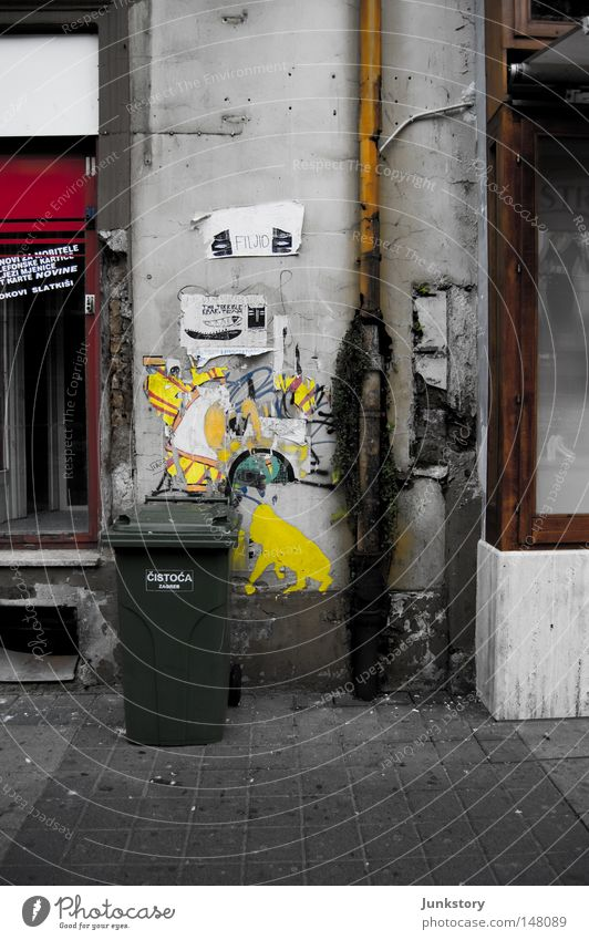 Old City Red Loneliness Black Yellow Wall (building) Gray Wall (barrier) Sadness Stone Glass Dirty Facade Concrete Ground