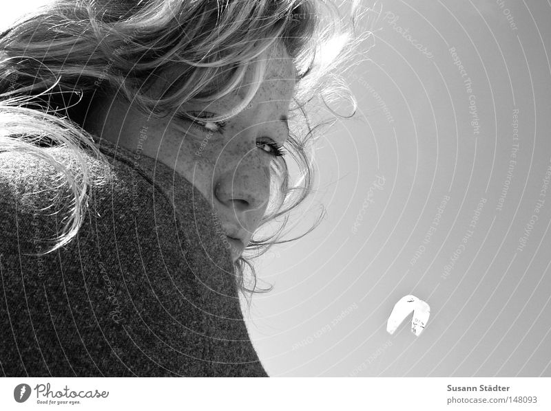Baltic wind Black White Black & white photo Hair and hairstyles Curl Blue Woman Virgin 18 - 30 years Youth (Young adults) Looking into the camera