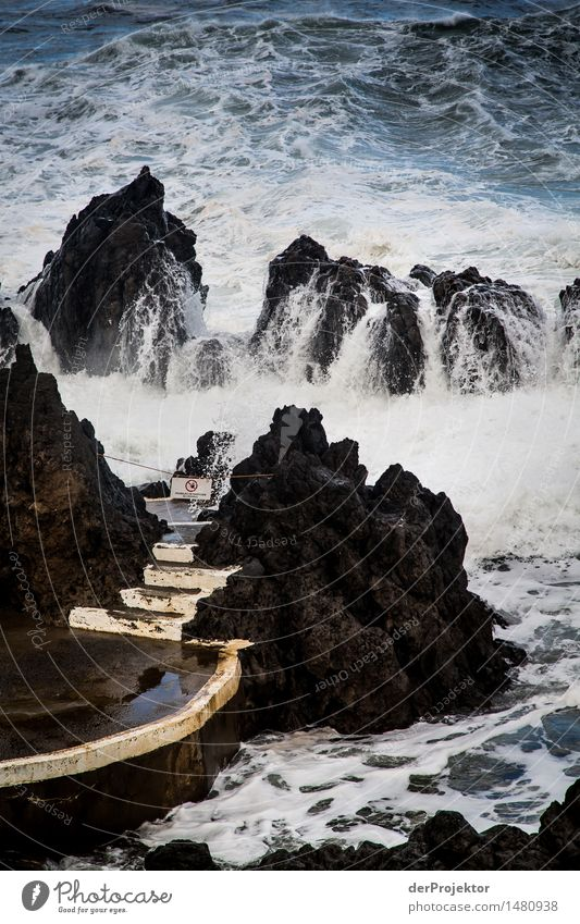 Stairs to the refreshing seaside resort Environment Nature Landscape Plant Winter Bad weather Storm Gale Rock Waves Coast Lakeside Ocean Island Swimming pool