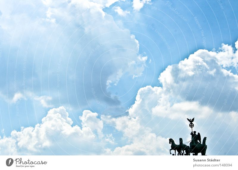 Sky Rider II Berlin Brandenburg Gate Summer Physics Hot Weather Meteorology Clouds Altocumulus floccus Perspiration Capital city Germany Horse Monument Landmark