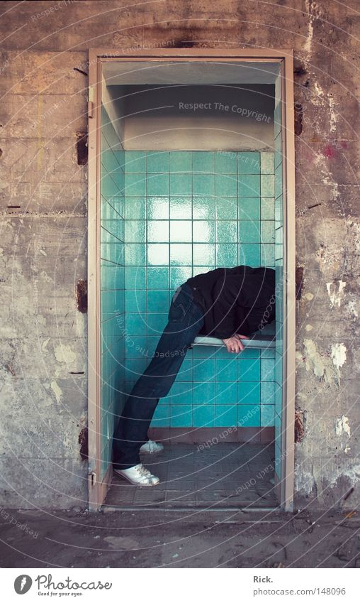 Human being Man Hand Old White Blue Loneliness Black Yellow Wall (building) Playing Window Stone Warmth Wall (barrier) Building