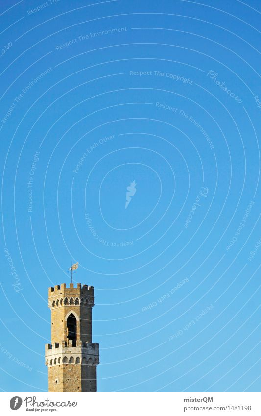 Turret. Art Work of art Esthetic Architecture Tower Italy Building Tall Watch tower Tuscany Volterra Colour photo Multicoloured Exterior shot Deserted