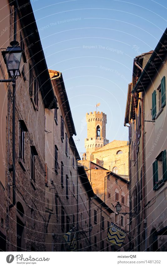 Golden alley. Art Work of art Esthetic Alley Italy Italian Tower Volterra Tuscany Idyll Peaceful Mediterranean Small angled Colour photo Multicoloured
