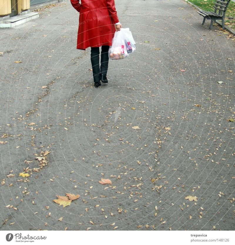 Human being Woman Leaf Loneliness Street Autumn Legs Walking Shopping Asphalt Coat Bag Plastic bag Pouch Sack