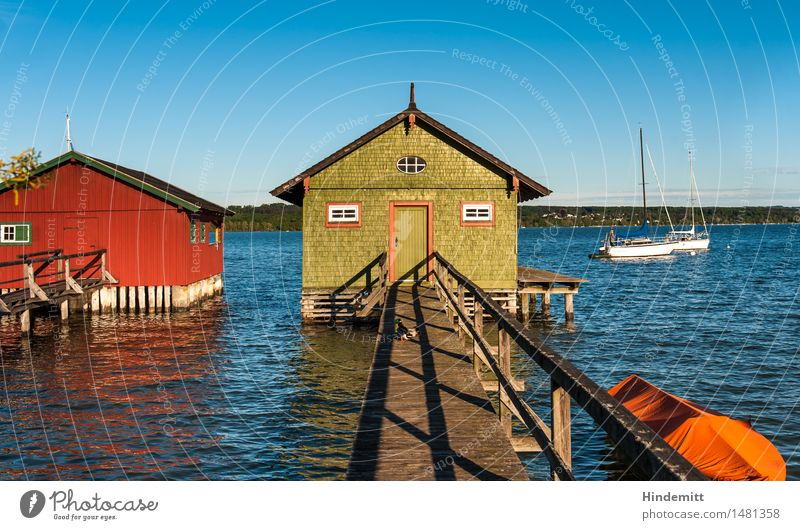 At the Ammersee Forest Hill Waves Lakeside Lake Ammer Hut Boathouse Footbridge Boating trip Sailboat Rowboat Harbour Swimming & Bathing Stand Authentic Warmth