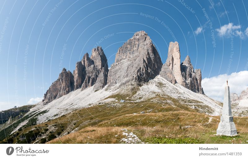 three merlons Environment Nature Landscape Plant Earth Sky Clouds Summer Beautiful weather Grass Rock Alps Mountain Dolomites Three peaks Peak Monument