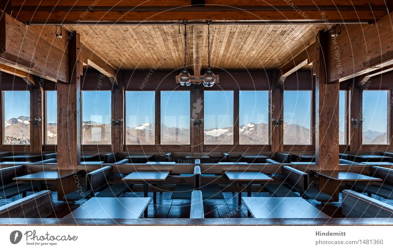 Sky House (Residential Structure) Window Mountain Interior design Snow Wood Lamp Rock Tourism Gloomy Table Transience Alps Bench Snowcapped peak
