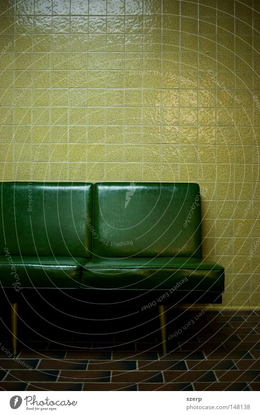 green squares - seats, tiles, floor Furniture Bathroom Wall (barrier) Wall (building) Plastic Sit Wait Creepy Cold Yellow Green Loneliness Colour Boredom Couch