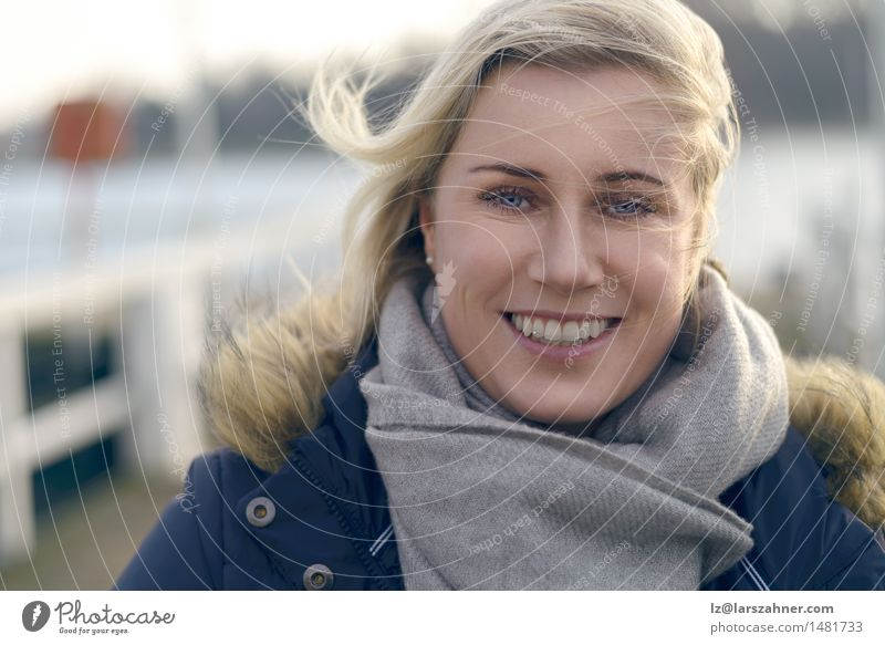 Attractive natural blond woman Happy Face Winter Woman Adults 1 Human being 30 - 45 years Autumn Wind Harbour Scarf Blonde Hair Smiling Friendliness Natural