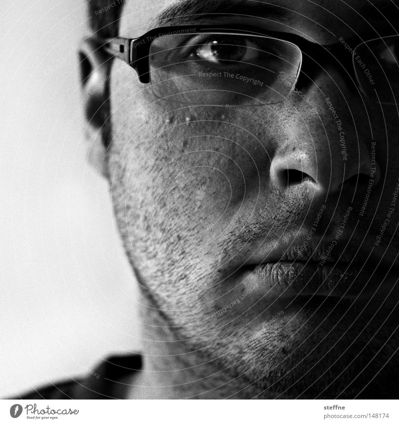 Man Eyeglasses Guy Self portrait Designer stubble Unshaven