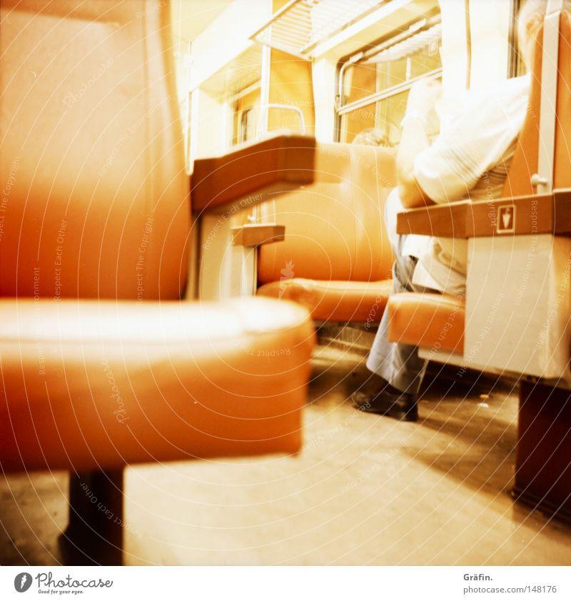 Rhineland Railway Passenger Integrated transportation system Public transit Rail transport Night Return journey Sleep Shabby Hallway Window Commuter trains