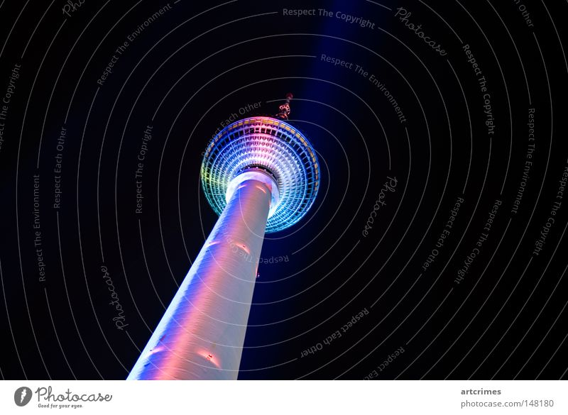 Evening Wardrobe Berlin Night shot Long exposure Black Cyan Light blue Pink Metal Berlin TV Tower Television tower Floodlight Light show Line UFO magentan