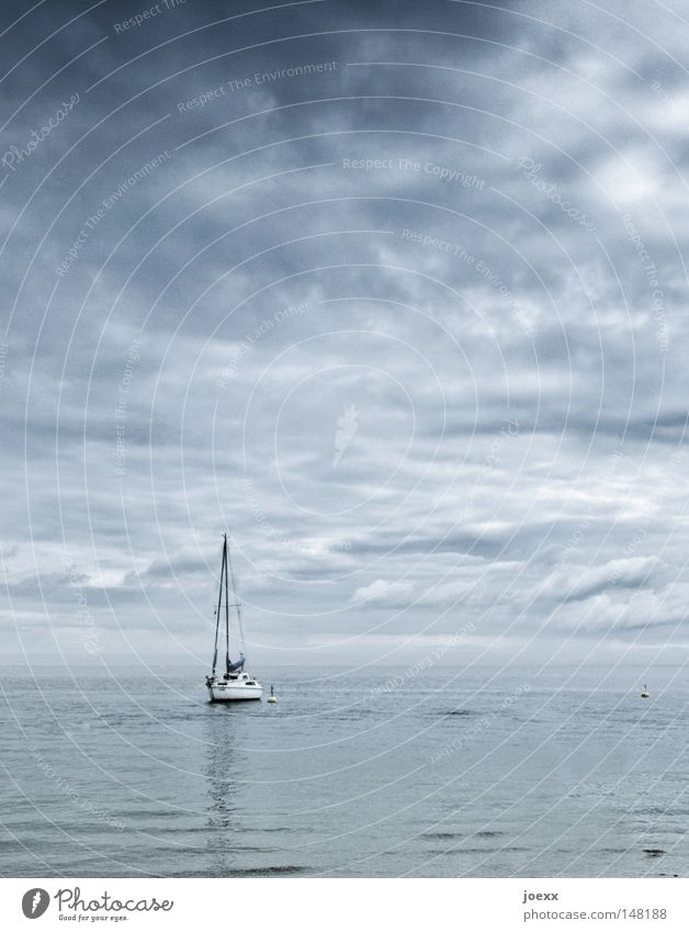 arrived Chained up Come Bad weather Watercraft Loneliness Relaxation Sky Horizon Mast Ocean Calm Lake Sailboat Sailing ship Sailing trip Sailing yacht Clouds