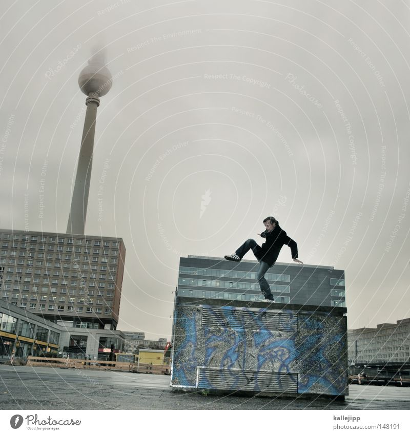 Human being Man Hand City House (Residential Structure) Window Mountain Emotions Berlin Architecture Jump Lake Air Line Dance Glass