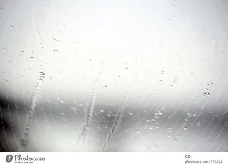 it's raining... Rain Window Car Window Water Drops of water Unclear White Gray Black Runlet In transit Germany
