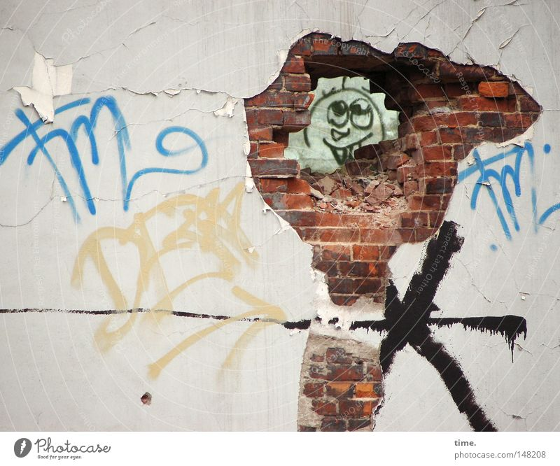 H08.2 - A smile behind every wall / Break On Through Wall (barrier) Wall (building) Stone Esthetic Historic Uniqueness Curiosity Crazy Trashy Colour Mortar