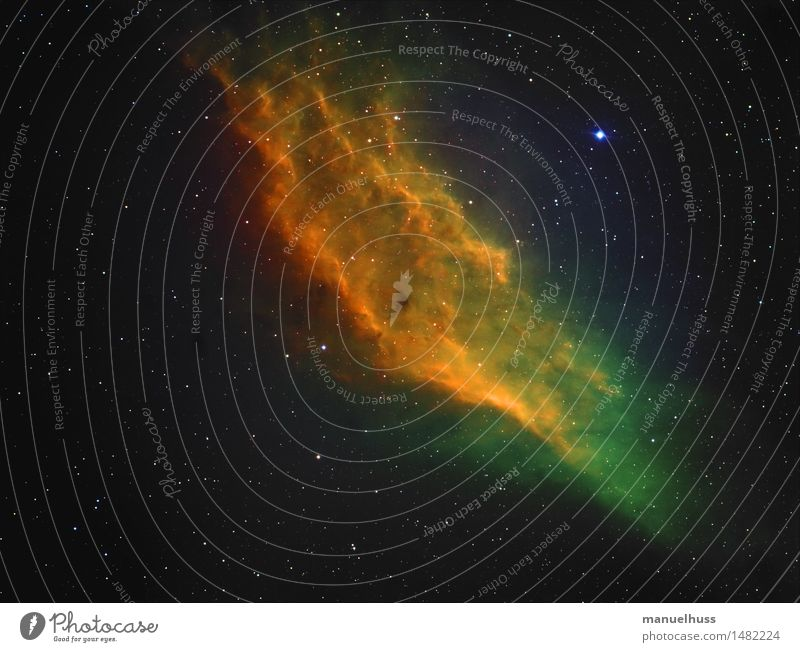 California Nebula (Hubble Colors) Night sky Stars Blue Yellow Green Black Astronomy Science & Research Astrophotography Universe Telescope Starry sky Fog