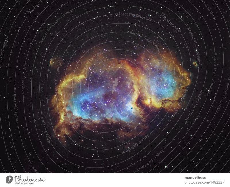 The Soul Nebula Science & Research Astronomy Astrophotography Fog Clouds Universe Night sky Stars nebula Interstellar Cloud Blue Yellow Orange Black Humble