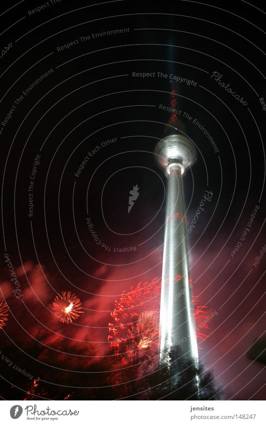st. walter's night Berlin Night Berlin TV Tower Television tower Alexanderplatz Dark Dynamics Lighting Red Silver Point Tree Sphere Domed roof Blaze Germany